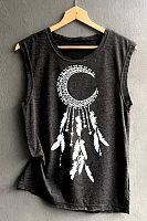 Round Neck Printed Sleeveless T-shirt