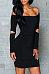 Black Off Shoulder Long Sleeves Hollow Design Party Dress