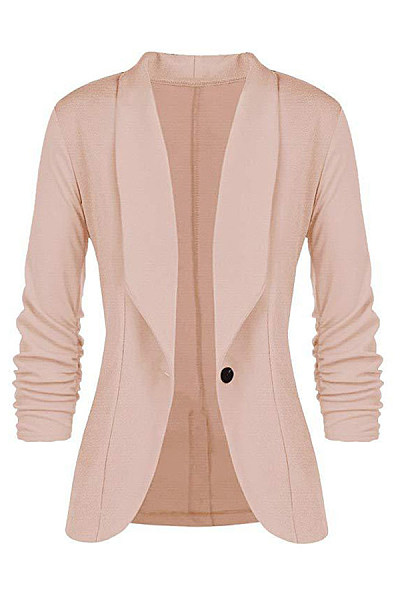 Fold Over Collar  Single Button  Plain Blazers