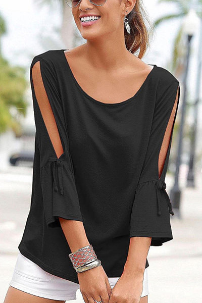 Round neck short sleeve solid color T-shirt