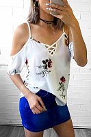 Spaghetti Strap  Floral Printed  Blouses
