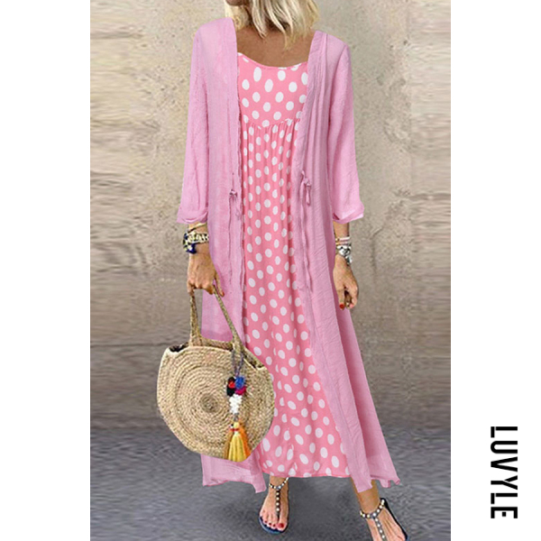 Pink Fashion Round Neck Polka Dot Two-Piece Dress Pink Fashion Round Neck Polka Dot Two-Piece Dress