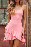 Sexy Women's Tube Top Halter Irregular Ruffled Halter Dress
