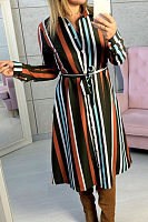 Turn Down Collar  Single Breasted  Belt  Striped  Long Sleeve Casual Dresses