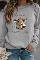 Cow casual printed loose sweatshirt