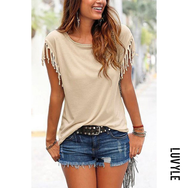 Coffee Round Neck Fringe Plain T-Shirts Coffee Round Neck Fringe Plain T-Shirts