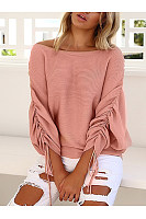 Casual  Plain  Tie Sleeve  Long Sleeve Sweaters