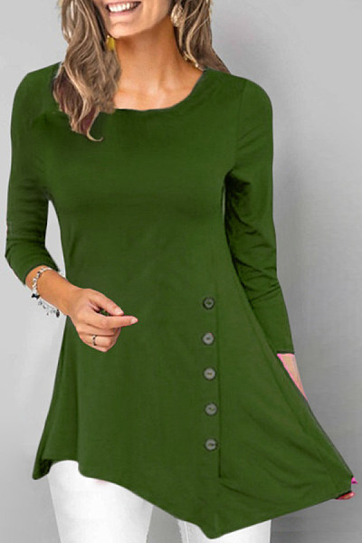 Casual Pure Color Round Neck Long Sleeve T-Shirt