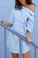 One Shoulder  Asymmetric Hem  Belt  Striped  Half Sleeve Casual Dresses
