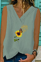Cotton And Linen V-neck Daisy Print Vest