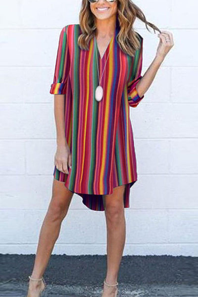 V Neck  Stripes  Half Sleeve Casual Dresses