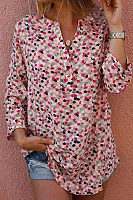 V-Collar Print Button Blouse Shirt
