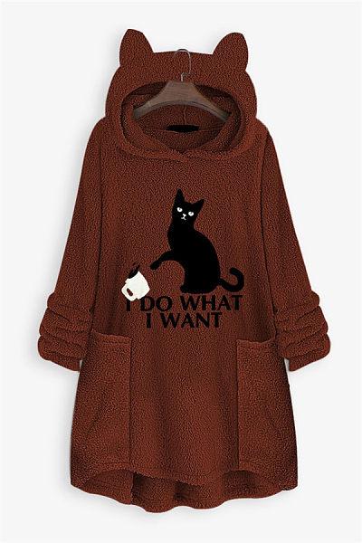 Fashion Loose-Fittig Pockets Cat Patch Pocket Sweatshirt