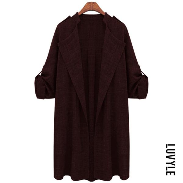 Women's Plus Size Fashion Turndown Collar Long Sleeve Grey Coat - from $19.00