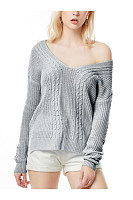 V Neck  Asymmetric Hem Backless  Plain Sweaters