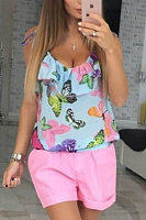 Spaghetti Strap  Flounce Butterfly Printed T-Shirts