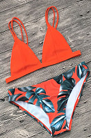 Spaghetti Strap  Abstract Print Bikini