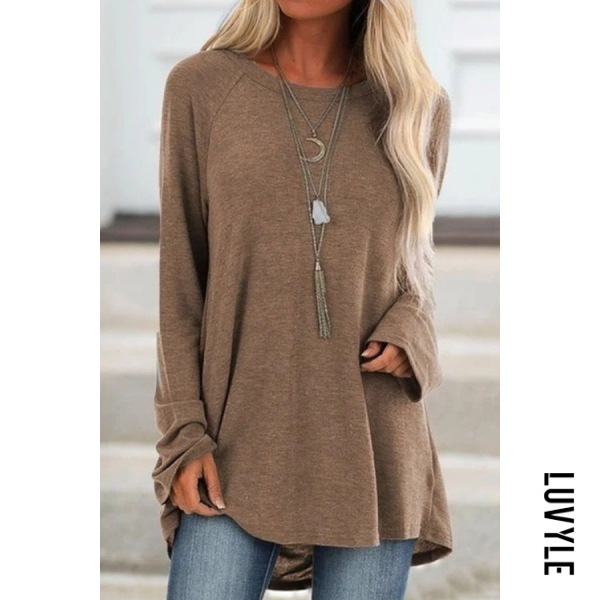Khaki Casual Round Neck Long Sleeve Loose-Fitting Plain T-Shirt Khaki Casual Round Neck Long Sleeve Loose-Fitting Plain T-Shirt