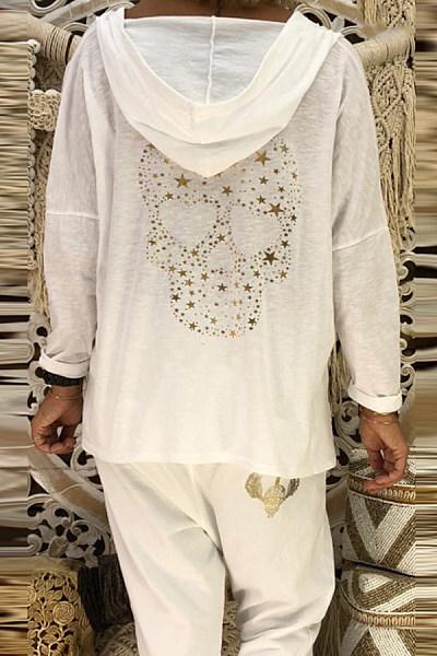 Hooded Long Sleeve Printed Plain T-Shirt