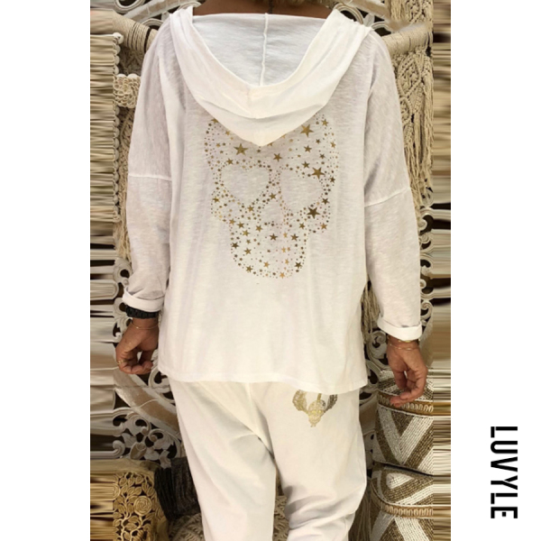 White Hooded Long Sleeve Printed Plain T-Shirt White Hooded Long Sleeve Printed Plain T-Shirt