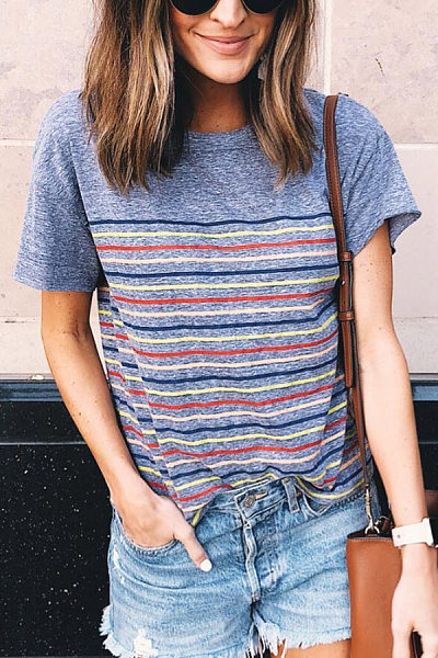 Round Neck Short Sleeve Striped T-shirt