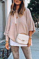 Round Neck Bell Sleeve Plain Sweater