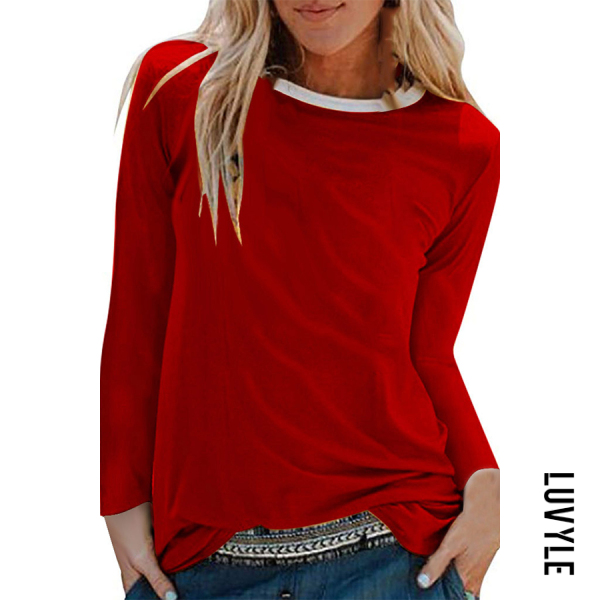 Red Brief Pure Colour Long Sleeve Round Neck T-Shirt Red Brief Pure Colour Long Sleeve Round Neck T-Shirt