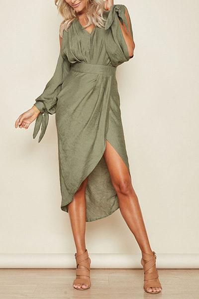 Surplice  Asymmetric Hem  Plain Maxi Dresses