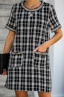 Round Neck Short Sleeve Plaid Casual Dress