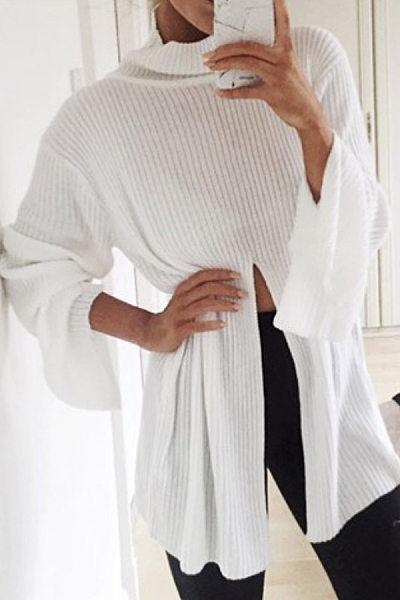 Short High Collar Split Plain Sweatshirts