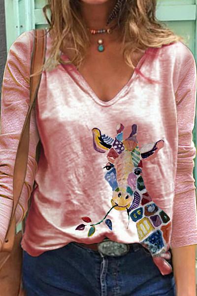 Printed V Neck Long Sleeve T-shirt