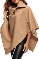 Turtle Neck  Asymmetric Hem  Plain Outerwear