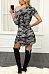 One Shoulder  Asymmetric Hem  Camouflage  Short Sleeve Casual Dresses