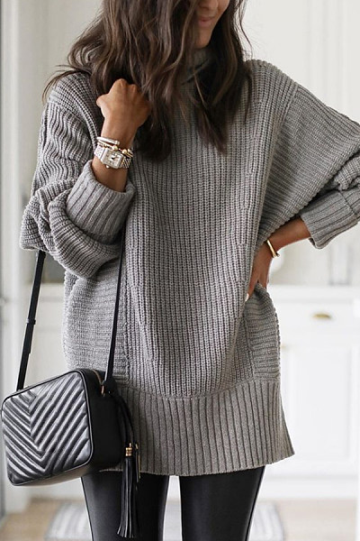 Heap Collar Plain Knit Long Sweater