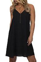 V Neck  Racerback  Plain  Sleeveless Casual Dresses