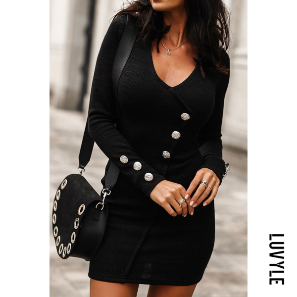 Round Neck Decorative Buttons Bodycon Mini Dress - from $30.00