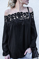 Off Shoulder Lantern sleeve Patchwork Hollow Out Long Sleeve Blouses