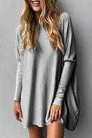 Asymmetric Hem  Animal Printed Plain  Batwing Sleeve T-Shirts