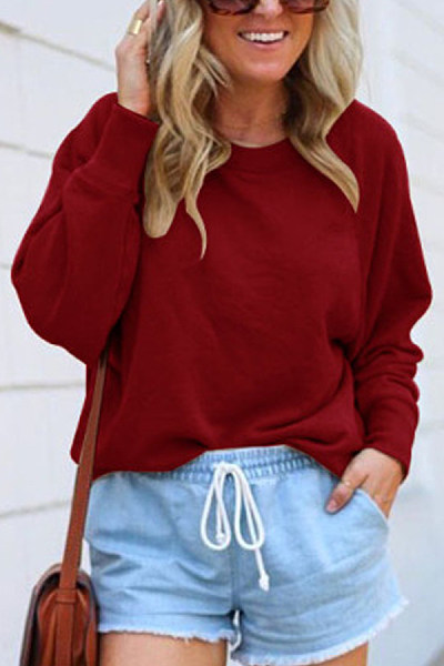 Solid Long Sleeve Loose Sweatshirt