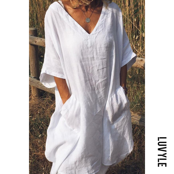 White Casual V Neck Half Sleeve Pockets Shift Dresses White Casual V Neck Half Sleeve Pockets Shift Dresses