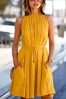High Neck  Belt  Plain  Sleeveless Skater Dresses
