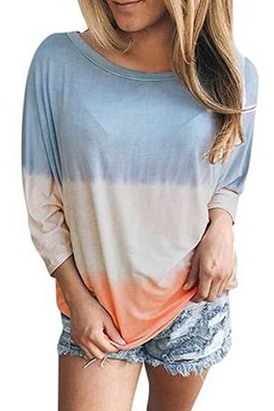 Casual Round Neck Long Sleeve Colouring T-Shirt