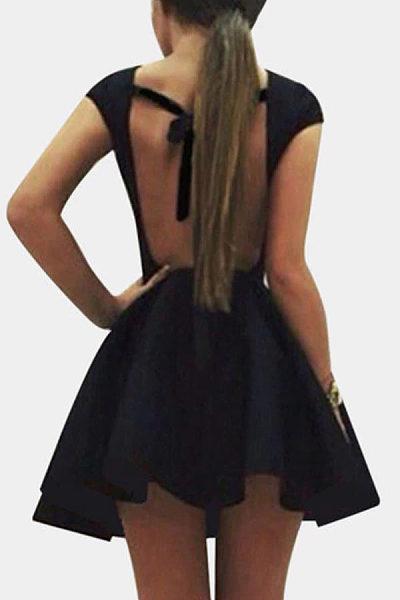 Round Neck  Backless  Plain  Short Sleeve Skater Dresses