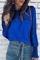 Women's Casual Round Neck Long Sleeve Pure Color Blouse
