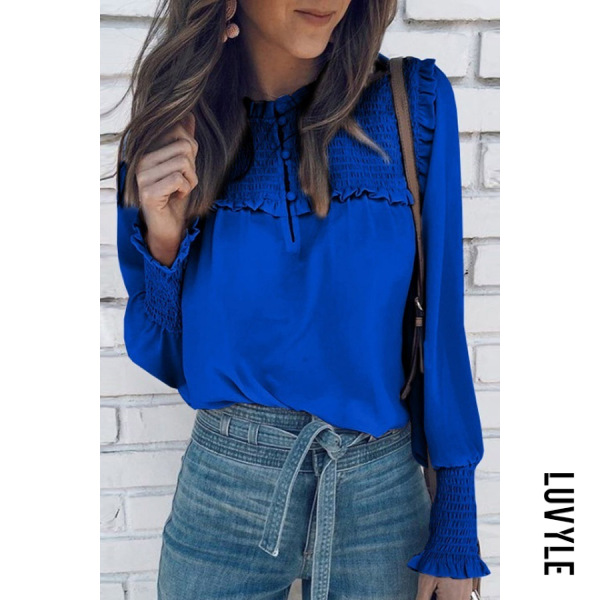 Casual | Blouse | Sleeve | Round | Color | Women | Neck | Long
