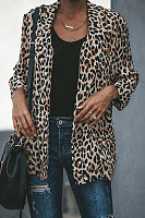 Leopard Printed Lapel Long Sleeve Fashion Blazers Jacket