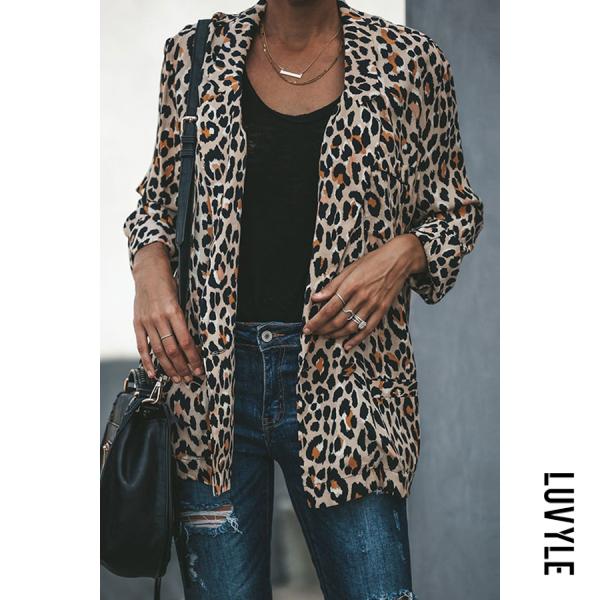 Leopard Printed Lapel Long Sleeve Fashion Blazers Jacket