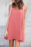 Halter  Cutout  Back Hole  Plain  Sleeveless Casual Dresses