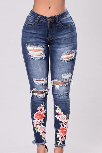 Broken Holes  Print Jeans