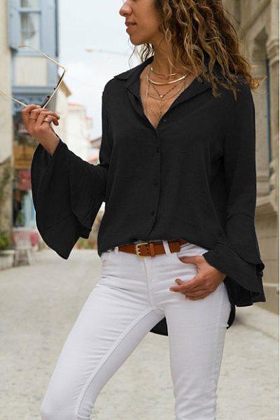 Fashion Plain Short Sleeve Blouses